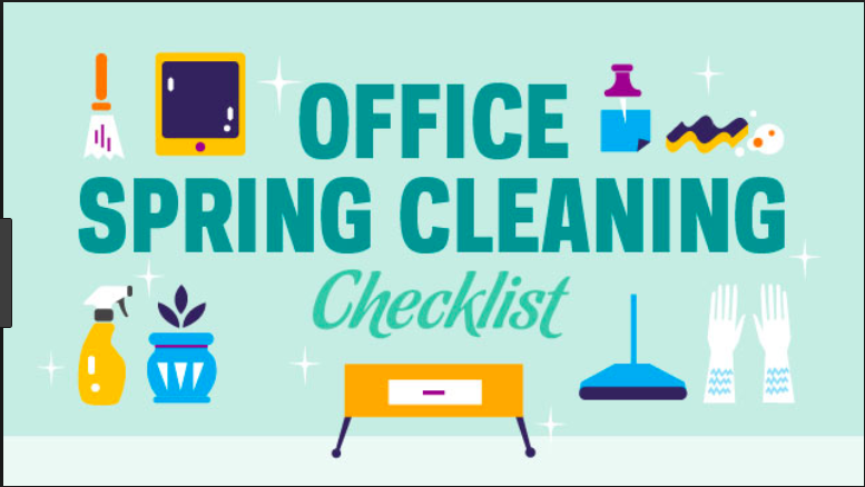 """Mid-Century-looking graphic of spring cleaning tools and office icons with the words """"Office Spring Cleaning Checklist"""""""